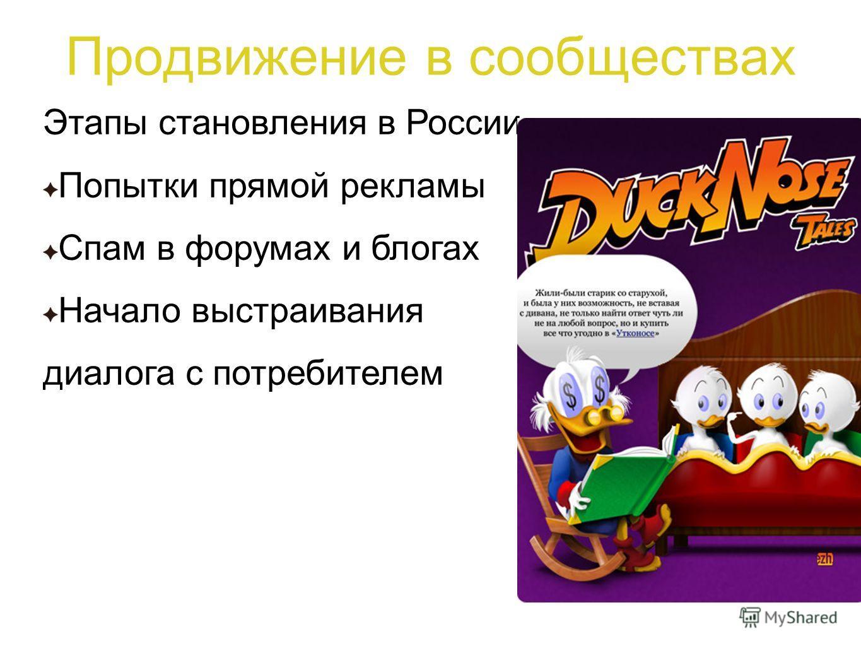 Продвижение в сообществах Этапы становления в России Попытки прямой рекламы Спам в форумах и блогах Начало выстраивания диалога с потребителем