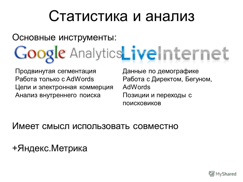 Статистика и анализ Основные инструменты: Имеет смысл использовать совместно +Яндекс.Метрика Продвинутая сегментация Работа только с AdWords Цели и электронная коммерция Анализ внутреннего поиска Данные по демографике Работа с Директом, Бегуном, AdWo