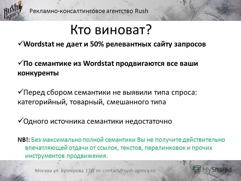 Рекламно-консалтинговое агентство Rush Москва ул. Бутлерова 17 б m: contact@rush-agency.ru Wordstat не дает и 50% релевантных сайту запросов По семантике из Wordstat продвигаются все ваши конкуренты Перед сбором семантики не выявили типа спроса: кате
