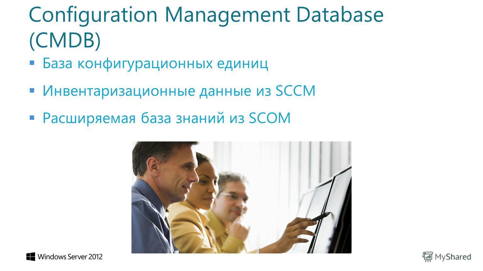 Configuration Management Database (CMDB) База конфигурационных единиц Инвентаризационные данные из SCCM Расширяемая база знаний из SCOM