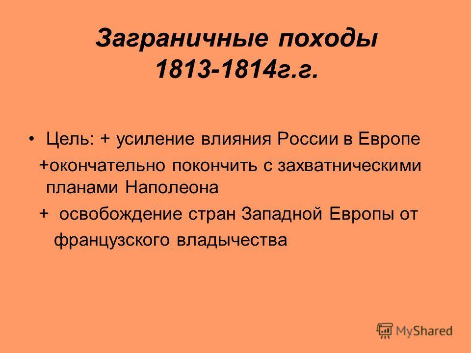 Заграничные походы 1813-1814 г.г. Цель: + усиление влияния России в Европе +окончательно покончить с захватническими планами Наполеона + освобождение стран Западной Европы от французского владычества