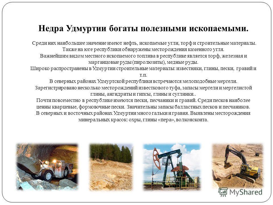 Недра Удмуртии богаты полезными ископаемыми. Среди них наибольшее значение имеют нефть, ископаемые угли, торф и строительные материалы. Также на юге республики обнаружены месторождения каменного угля. Важнейшим видом местного ископаемого топлива в ре
