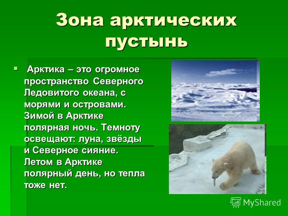 Зона арктических пустынь Арктика – это огромное пространство Северного Ледовитого океана, с морями и островами. Зимой в Арктике полярная ночь. Темноту освещают: луна, звёзды и Северное сияние. Летом в Арктике полярный день, но тепла тоже нет. Арктика