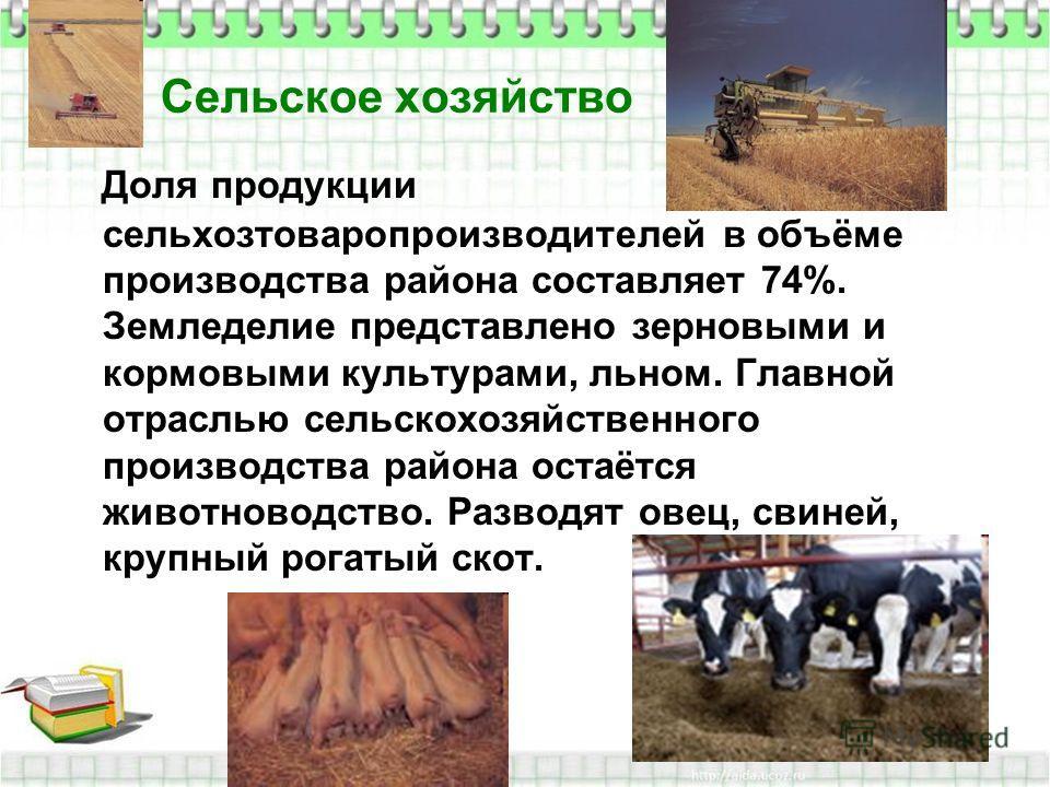 Сельское хозяйство Доля продукции сельхозтоваропроизводителей в объёме производства района составляет 74%. Земледелие представлено зерновыми и кормовыми культурами, льном. Главной отраслью сельскохозяйственного производства района остаётся животновод