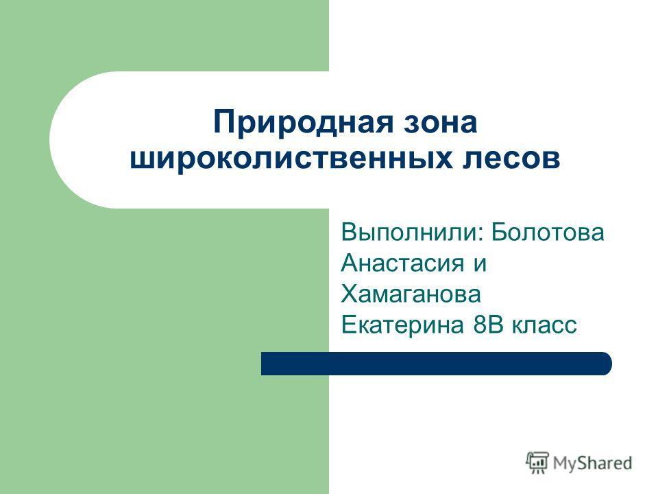 Природная зона широколиственных лесов Выполнили: Болотова Анастасия и Хамаганова Екатерина 8В класс