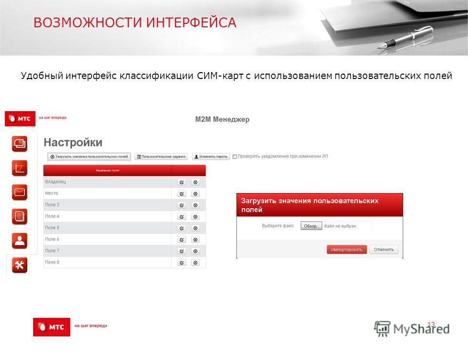 ВОЗМОЖНОСТИ ИНТЕРФЕЙСА 13 Удобный интерфейс классификации СИМ-карт с использованием пользовательских полей