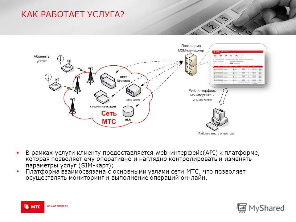 КАК РАБОТАЕТ УСЛУГА? В рамках услуги клиенту предоставляется web-интерфейс(API) к платформе, которая позволяет ему оперативно и наглядно контролировать и изменять параметры услуг (SIM-карт); Платформа взаимосвязана с основными узлами сети МТС, что по