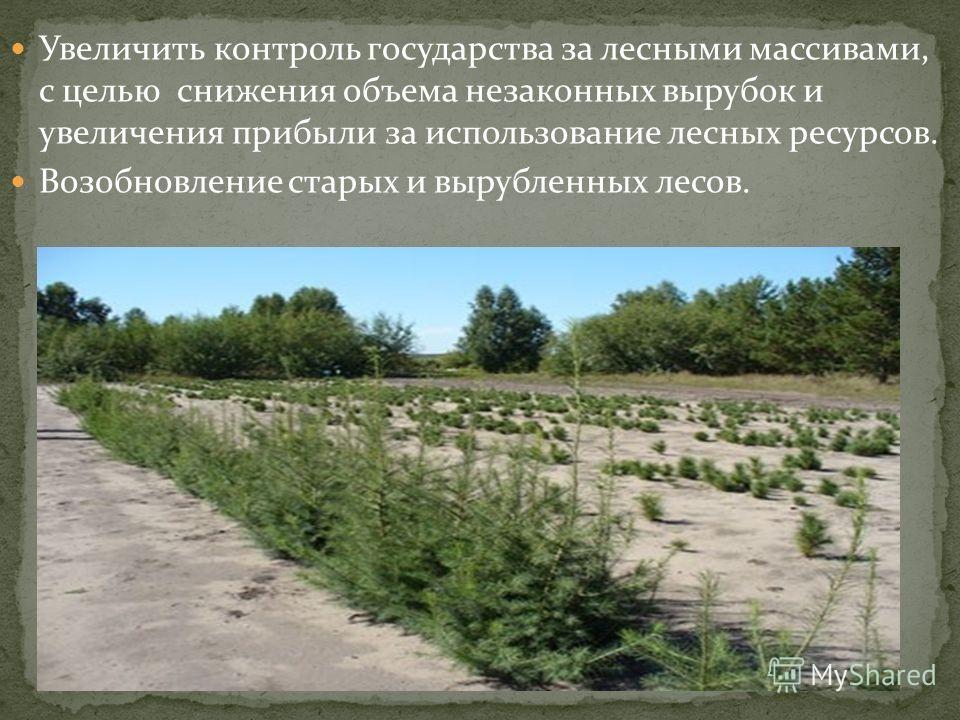 Увеличить контроль государства за лесными массивами, с целью снижения объема незаконных вырубок и увеличения прибыли за использование лесных ресурсов. Возобновление старых и вырубленных лесов.