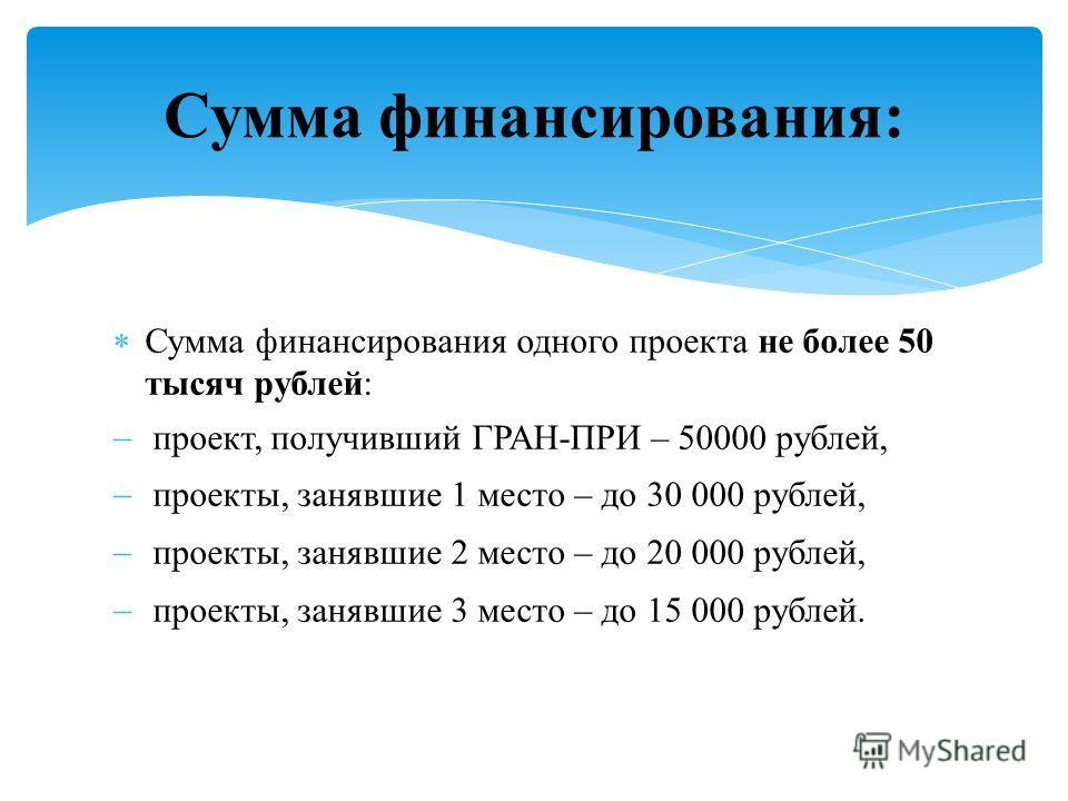 Сумма финансирования одного проекта не более 50 тысяч рублей: проект, получивший ГРАН-ПРИ – 50000 рублей, проекты, занявшие 1 место – до 30 000 рублей, проекты, занявшие 2 место – до 20 000 рублей, проекты, занявшие 3 место – до 15 000 рублей. Сумма