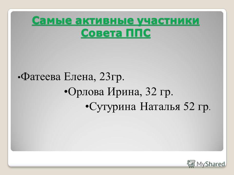 Самые активные участники Совета ППС Фатеева Елена, 23 гр. Орлова Ирина, 32 гр. Сутурина Наталья 52 гр.