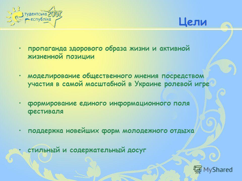 Цели пропаганда здорового образа жизни и активной жизненной позиции моделирование общественного мнения посредством участия в самой масштабной в Украине ролевой игре формирование единого информационного поля фестиваля поддержка новейших форм молодежно