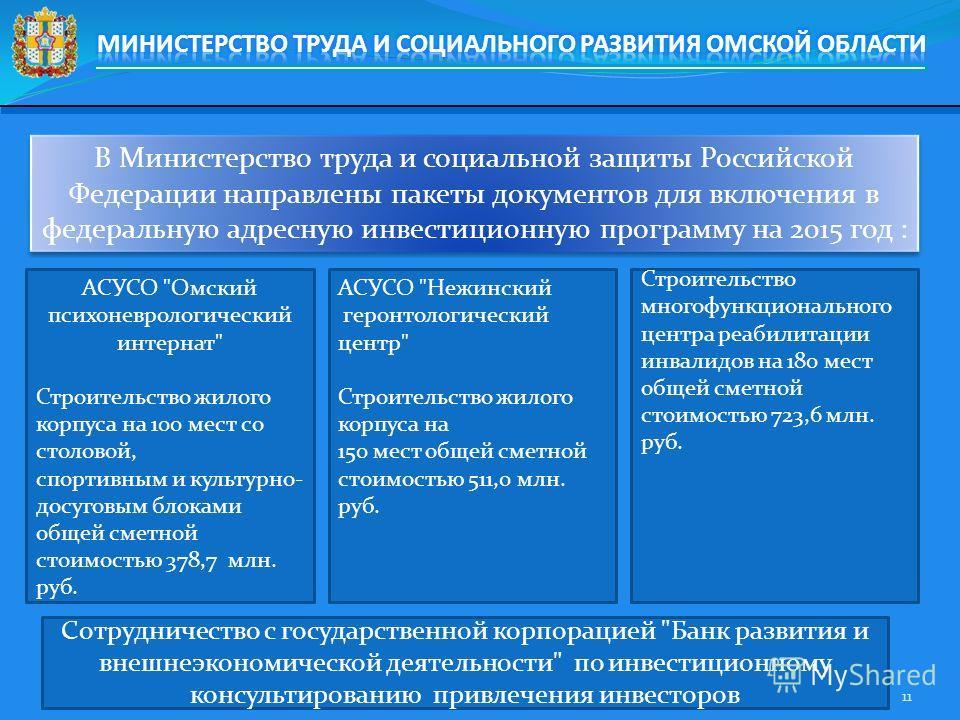 В Министерство труда и социальной защиты Российской Федерации направлены пакеты документов для включения в федеральную адресную инвестиционную программу на 2015 год : 11 АСУСО