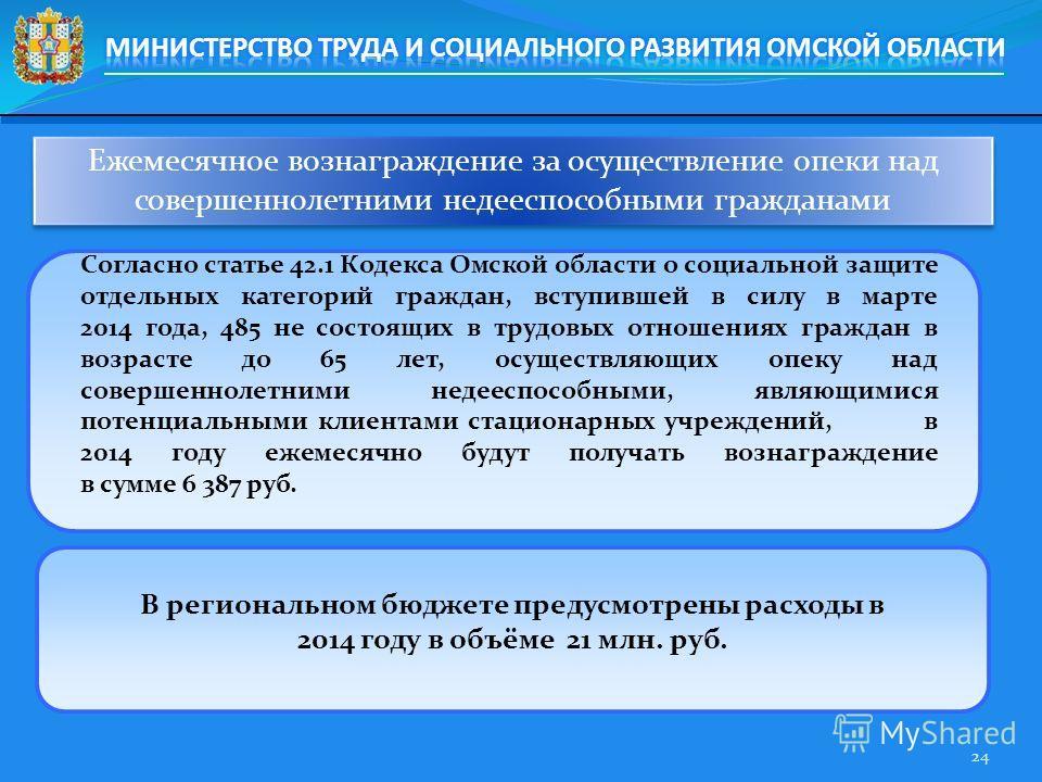Ежемесячное вознаграждение за осуществление опеки над совершеннолетними недееспособными гражданами 24 Согласно статье 42.1 Кодекса Омской области о социальной защите отдельных категорий граждан, вступившей в силу в марте 2014 года, 485 не состоящих в