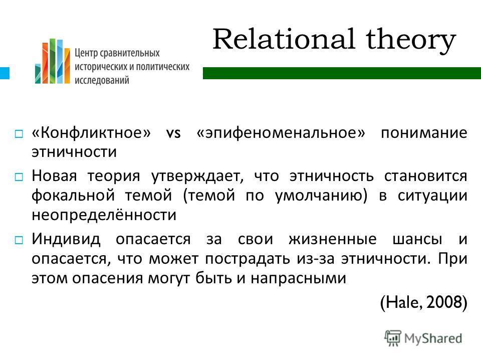 Relational theory « Конфликтное » vs « эпифеноменальное » понимание этничности Новая теория утверждает, что этничность становится фокальной темой ( темой по умолчанию ) в ситуации неопределённости Индивид опасается за свои жизненные шансы и опасается