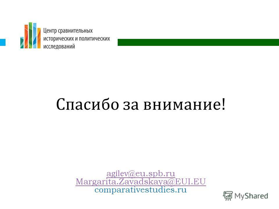Спасибо за внимание ! agilev@eu.spb.ru Margarita.Zavadskaya@EUI.EU comparativestudies.ru