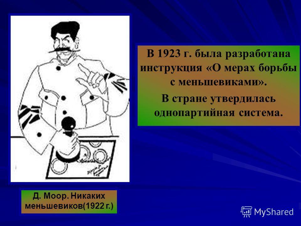 В 1923 г. была разработана инструкция «О мерах борьбы с меньшевиками». В стране утвердилась однопартийная система. Д. Моор. Никаких меньшевиков(1922 г.)
