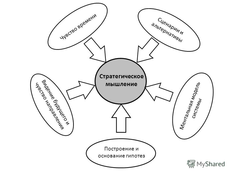 Стратегическое мышление Сценарии и альтернативы Построение и основание гипотез Чувство времени Ментальная модель системы Видение будущего и чувство направления