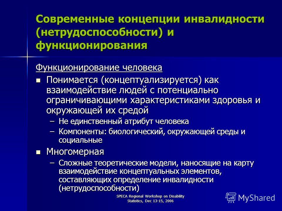 SPECA Regional Workshop on Disability Statistics, Dec 13-15, 2006 Современные концепции инвалидности (нетрудоспособности) и функционирования Функционирование человека Понимается (концептуализируется) как взаимодействие людей с потенциально ограничива