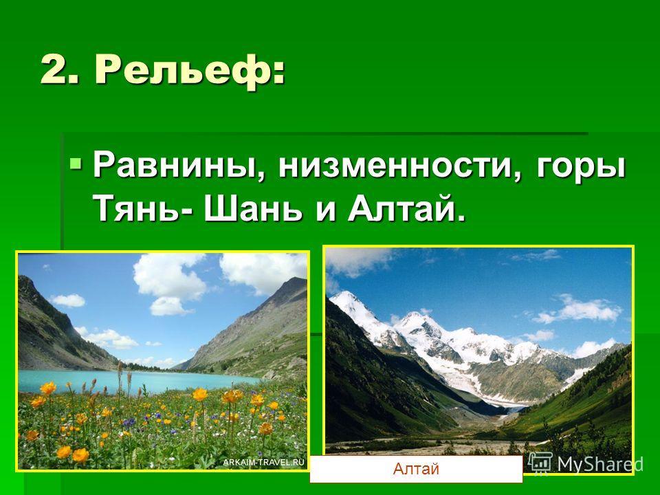 2. Рельеф: Равнины, низменности, горы Тянь- Шань и Алтай. Равнины, низменности, горы Тянь- Шань и Алтай. Алтай