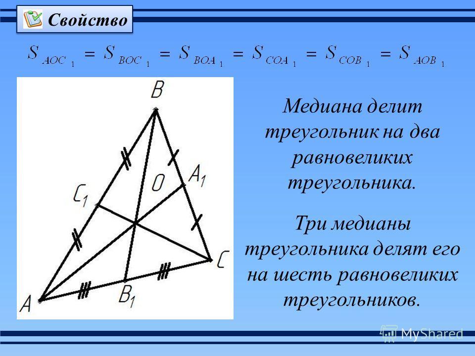 Три медианы треугольника делят его на шесть равновеликих треугольников. Свойство Медиана делит треугольник на два равновеликих треугольника.