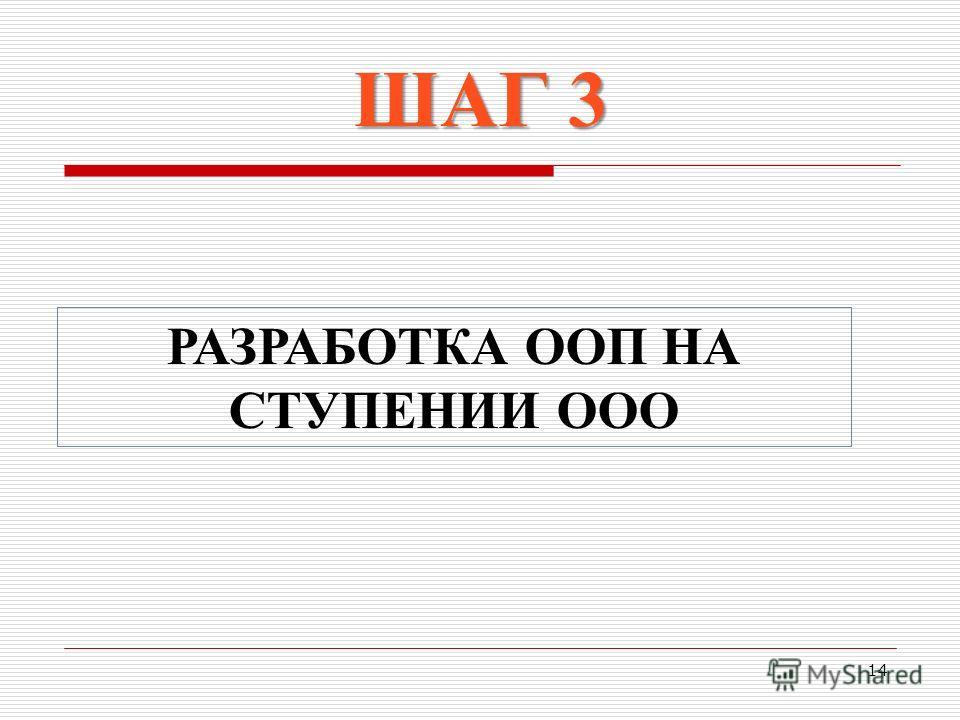 14 РАЗРАБОТКА ООП НА СТУПЕНИИ ООО ШАГ 3