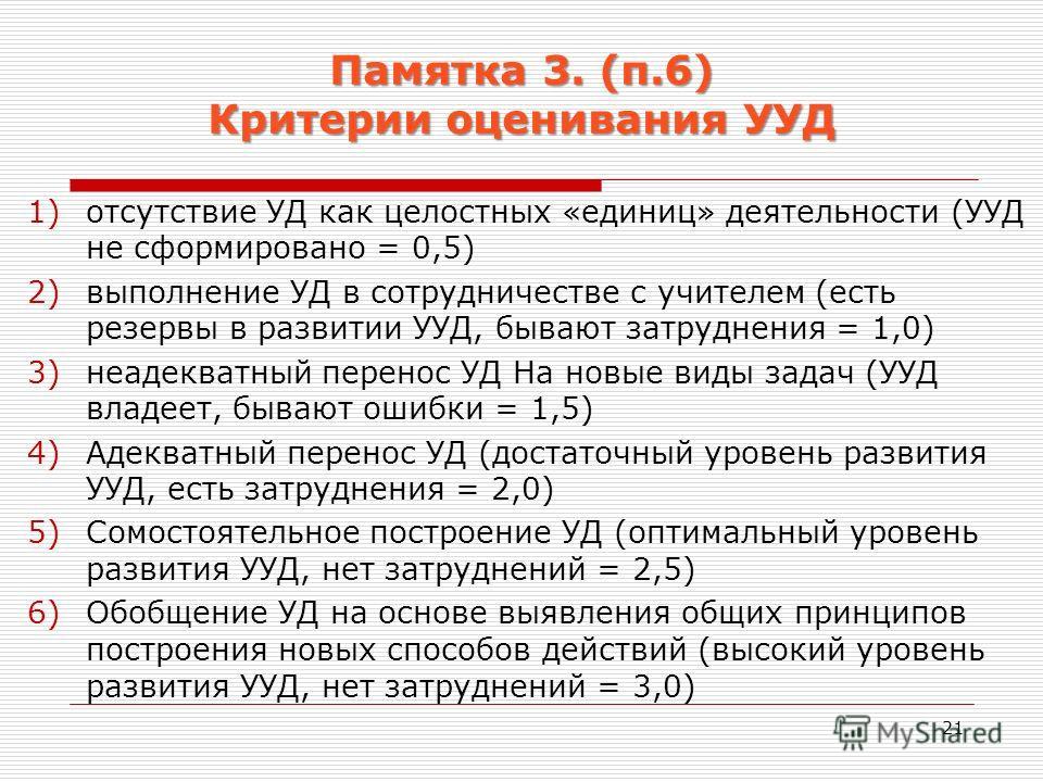 Памятка 3. (п.6) Критерии оценивания УУД 1)отсутствие УД как целостних «единиц» деятельности (УУД не сформировано = 0,5) 2)выполнение УД в сотрудничестве с учителем (есть резервы в развитии УУД, бывают затруднения = 1,0) 3)неадекватный перенос УД На