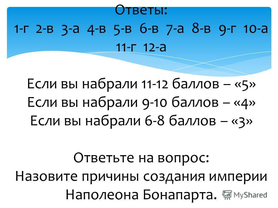 Ответы: 1-г 2-в 3-а 4-в 5-в 6-в 7-а 8-в 9-г 10-а 11-г 12-а Если вы набрали 11-12 баллов – «5» Если вы набрали 9-10 баллов – «4» Если вы набрали 6-8 баллов – «3» Ответьте на вопрос: Назовите причины создания империи Наполеона Бонапарта.