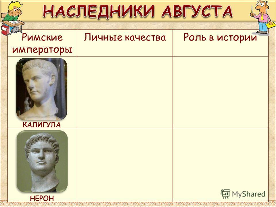 Римские императоры Личные качества Роль в истории КАЛИГУЛА НЕРОН