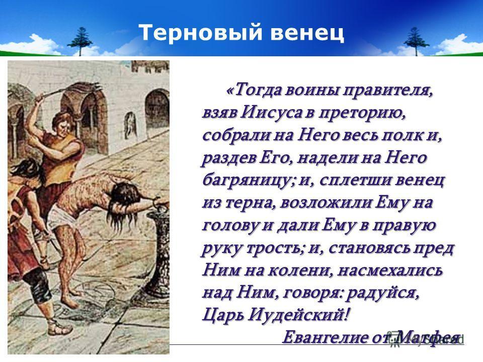 Терновый венец «Тогда воины правителя, взяв Иисуса в преторию, собрали на Него весь полк и, раздев Его, надели на Него багряницу; и, сплетши венец из терна, возложили Ему на голову и дали Ему в правую руку трость; и, становясь пред Ним на колени, нас