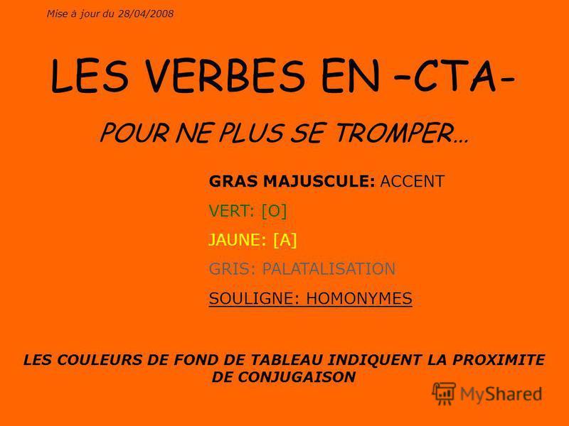 Mise à jour du 28/04/2008 LES VERBES EN –CTA- POUR NE PLUS SE TROMPER… GRAS MAJUSCULE: ACCENT VERT: [O] JAUNE: [A] GRIS: PALATALISATION SOULIGNE: HOMONYMES LES COULEURS DE FOND DE TABLEAU INDIQUENT LA PROXIMITE DE CONJUGAISON
