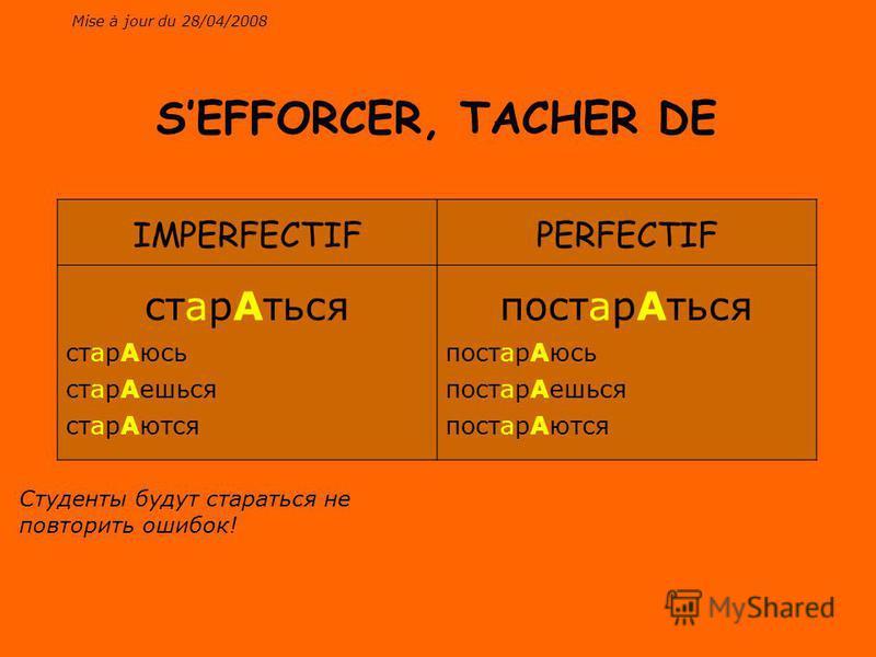 Mise à jour du 28/04/2008 IMPERFECTIFPERFECTIF старАться старАюсь старАешься старАются постарАться постарАюсь постарАешься постарАются SEFFORCER, TACHER DE Студенты будут стараться не повторить ошибок!