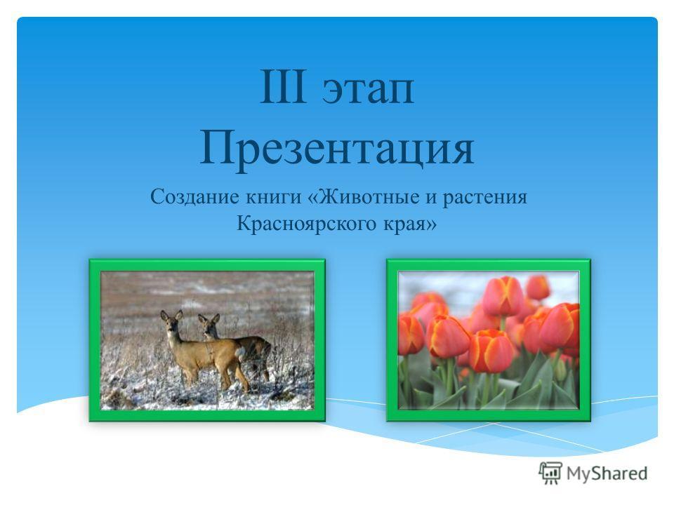 III этап Презентация Создание книги «Животные и растения Красноярского края»