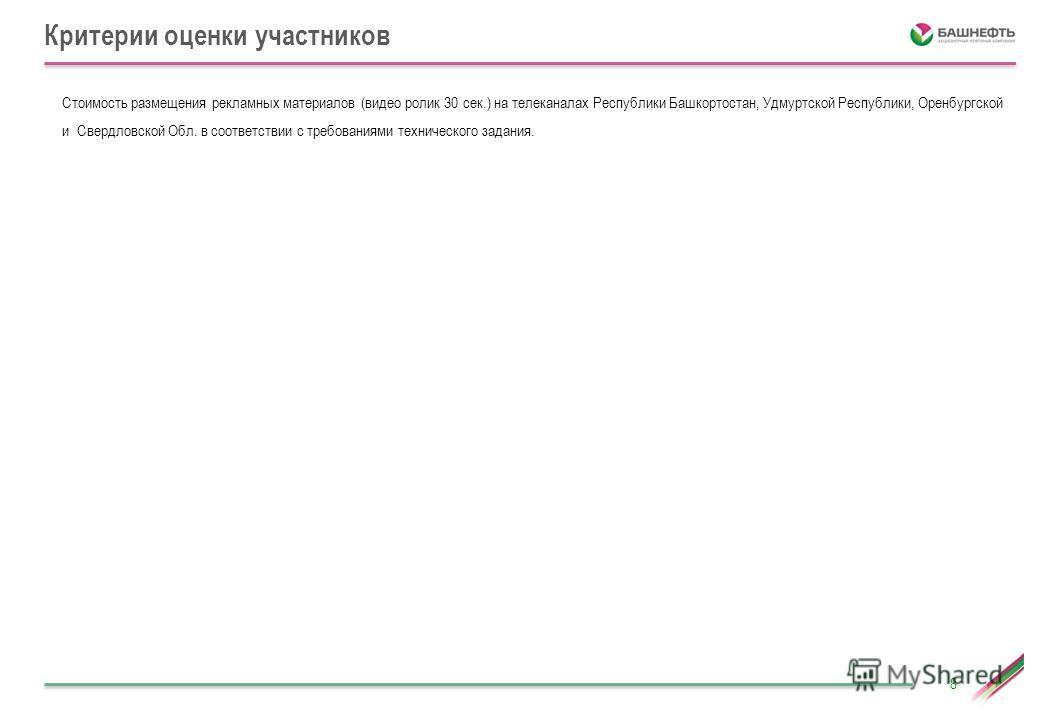 Критерии оценки участников 8 Стоимость размещения рекламных материалов (видео ролик 30 сек.) на телеканалах Республики Башкортостан, Удмуртской Республики, Оренбургской и Свердловской Обл. в соответствии с требованиями технического задания.