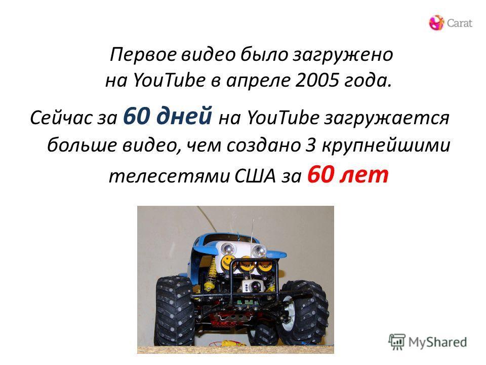 Первое видео было загружено на YouTube в апреле 2005 года. Сейчас за 60 дней на YouTube загружается больше видео, чем создано 3 крупнейшими телесетями США за 60 лет