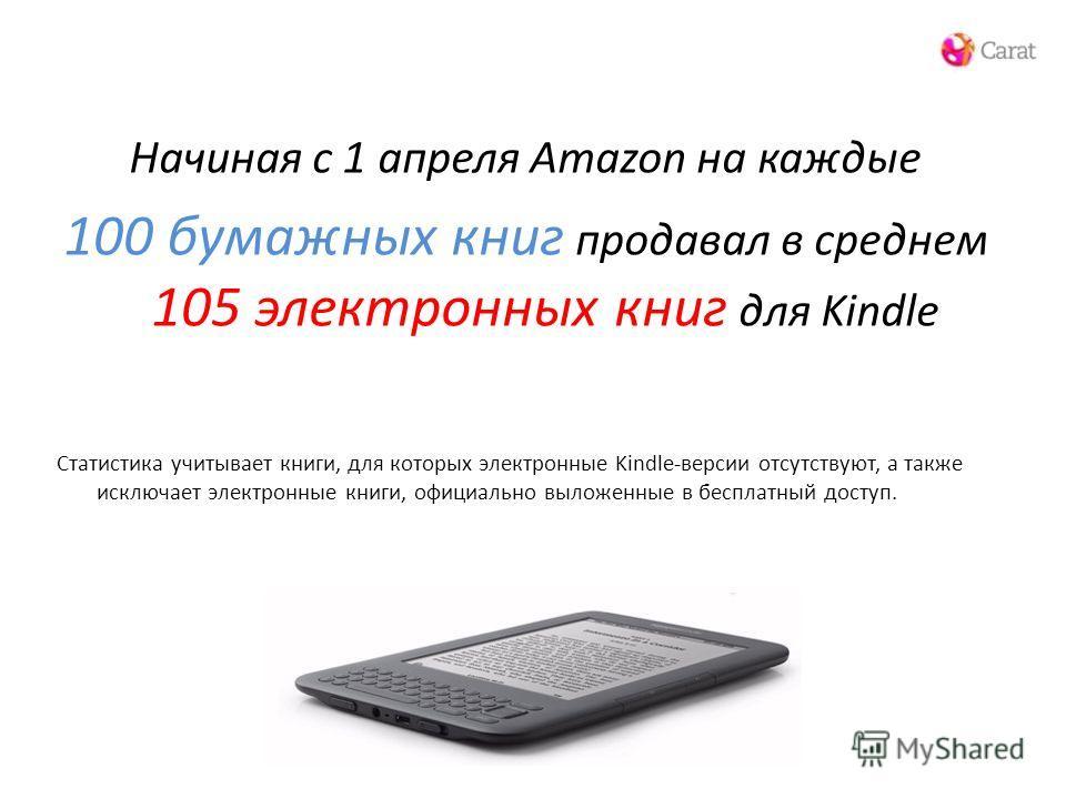 Начиная с 1 апреля Amazon на каждые 100 бумажных книг продавал в среднем 105 электронных книг для Kindle Статистика учитывает книги, для которых электронные Kindle-версии отсутствуют, а также исключает электронные книги, официально выложенные в беспл