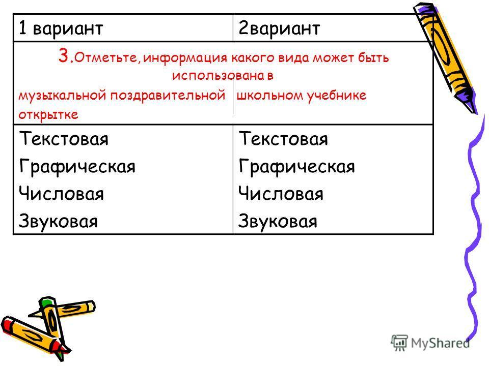1 вариант 2 вариант 3. Отметьте, информация какого вида может быть использована в музыкальной поздравительной школьном учебнике открытке Текстовая Графическая Числовая Звуковая Текстовая Графическая Числовая Звуковая