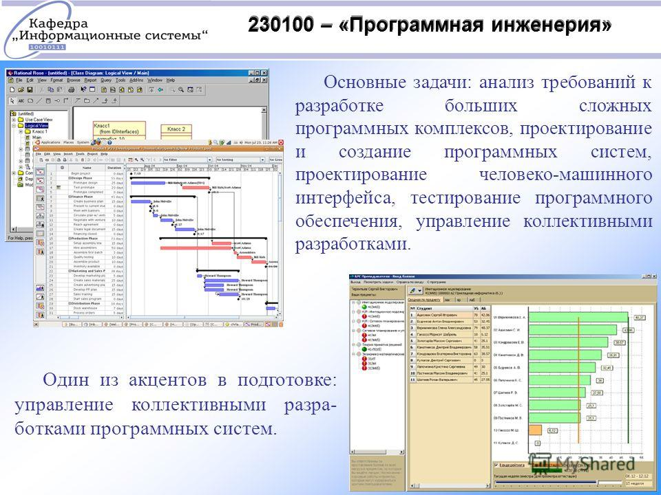 230100 – «Программная инженерия» Основные задачи: анализ требований к разработке больших сложных программных комплексов, проектирование и создание программных систем, проектирование человеко-машинного интерфейса, тестирование программного обеспечения