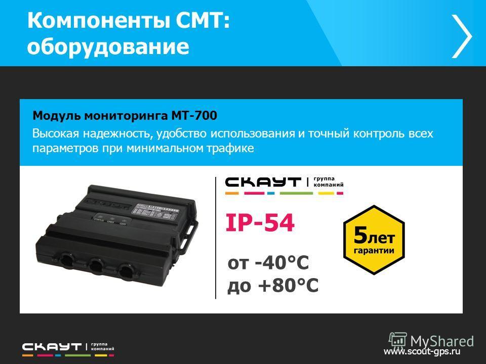 Компоненты СМТ: оборудование www.scout-gps.ru Модуль мониторинга МТ-700 Высокая надежность, удобство использования и точный контроль всех параметров при минимальном трафике IP-54 от -40°C до +80°C