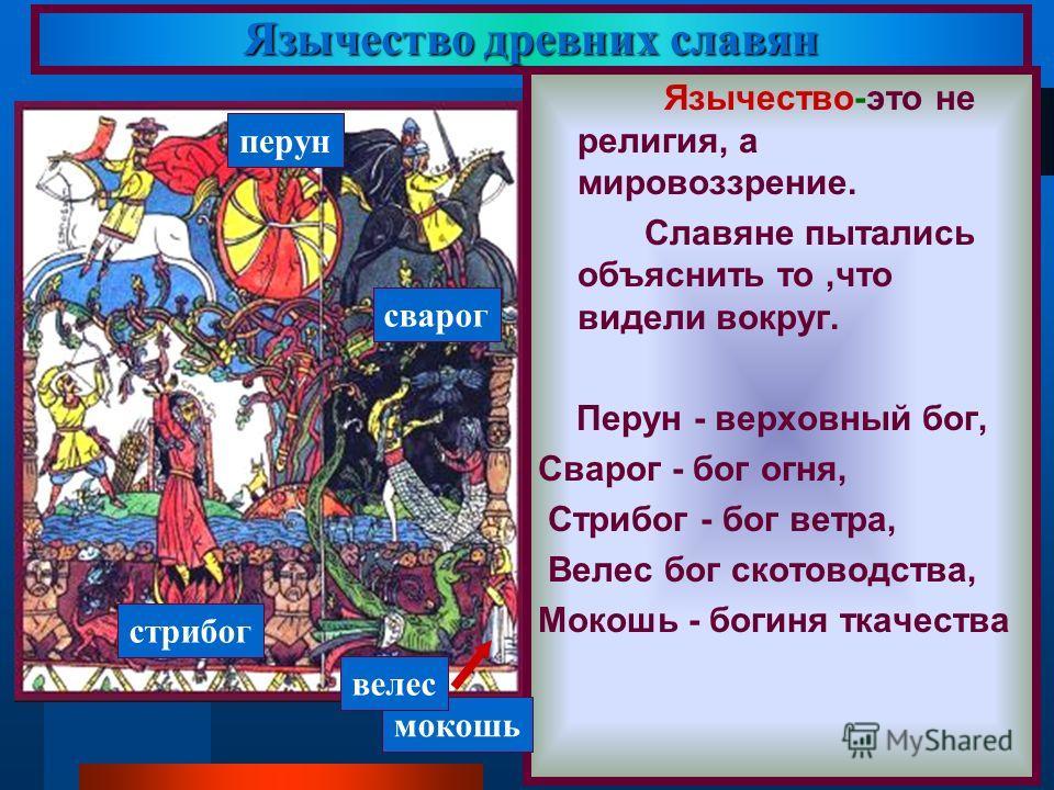 Язычество древних славян Язычество-это не религия, а мировоззрение. Славяне пытались объяснить то,что видели вокруг. Перун - верховный бог, Сварог - бог огня, Стрибог - бог ветра, Велес бог скотоводства, Мокошь - богиня ткачества перун мокошь велес с