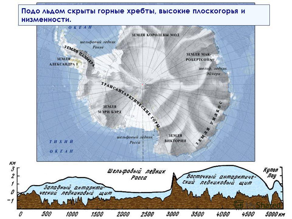 Подо льдом скрыты горные хребты, высокие плоскогорья и низменности.