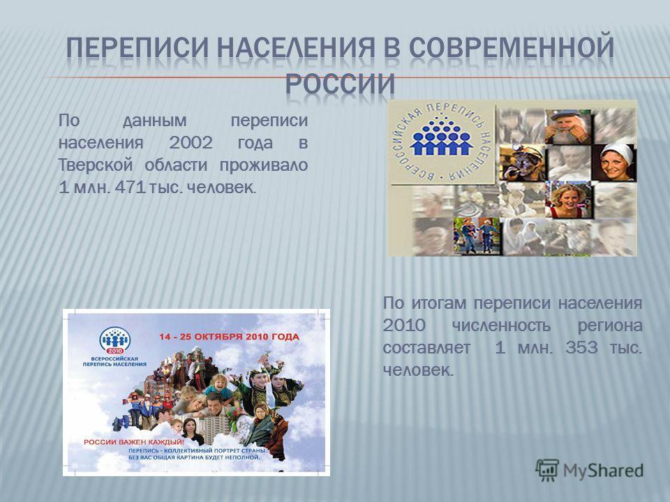 По итогам переписи населения 2010 численность региона составляет 1 млн. 353 тыс. человек. По данным переписи населения 2002 года в Тверской области проживало 1 млн. 471 тыс. человек.