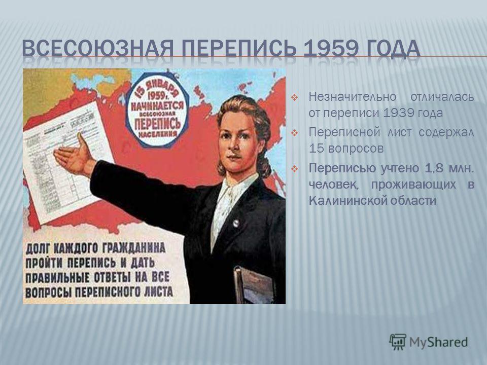 Незначительно отличалась от переписи 1939 года Переписной лист содержал 15 вопросов Переписью учтено 1,8 млн. человек, проживающих в Калининской области