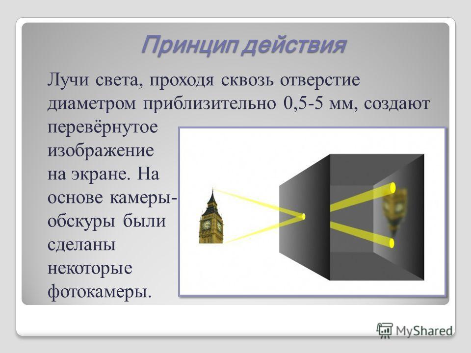 Принцип действия Лучи света, проходя сквозь отверстие диаметром приблизительно 0,5-5 мм, создают перевёрнутое изображение на экране. На основе камеры- обскуры были сделаны некоторые фотокамеры.