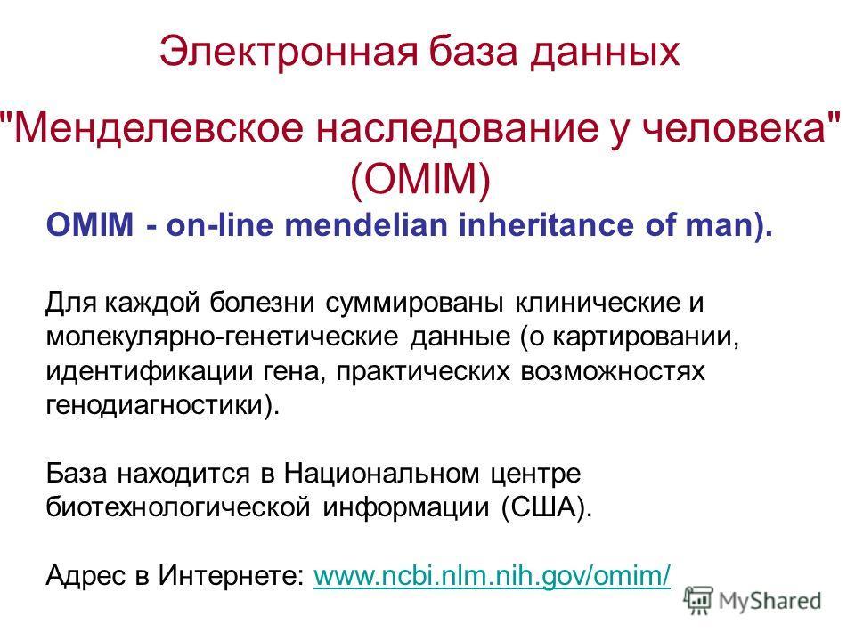 Электронная база данных