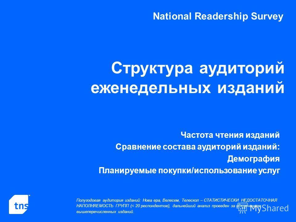 National Readership Survey Структура аудиторий еженедельных изданий Полугодовая аудитория изданий: Нова ера, Велесем, Телескоп – СТАТИСТИЧЕСКИ НЕДОСТАТОЧНАЯ НАПОЛНЯЕМОСТЬ ГРУПП (< 20 респондентов), дальнейший анализ проведен за исключением вышеперечи
