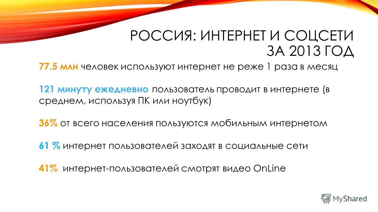 РОССИЯ: ИНТЕРНЕТ И СОЦСЕТИ ЗА 2013 ГОД 77.5 млн человек используют интернет не реже 1 раза в месяц 121 минуту ежедневно пользователь проводит в интернете (в среднем, используя ПК или ноутбук) 36% от всего населения пользуются мобильным интернетом 61