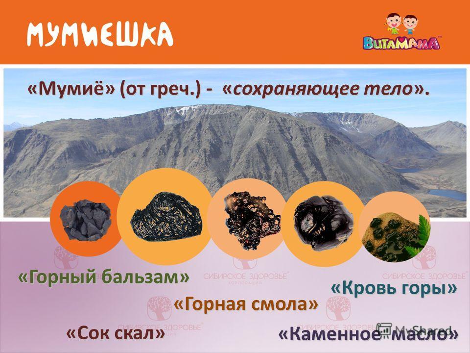 «Мумиё» (от греч.) - «сохраняющее тело». «Горный бальзам» «Горная смола» «Кровь горы» «Сок скал» «Каменное масло»