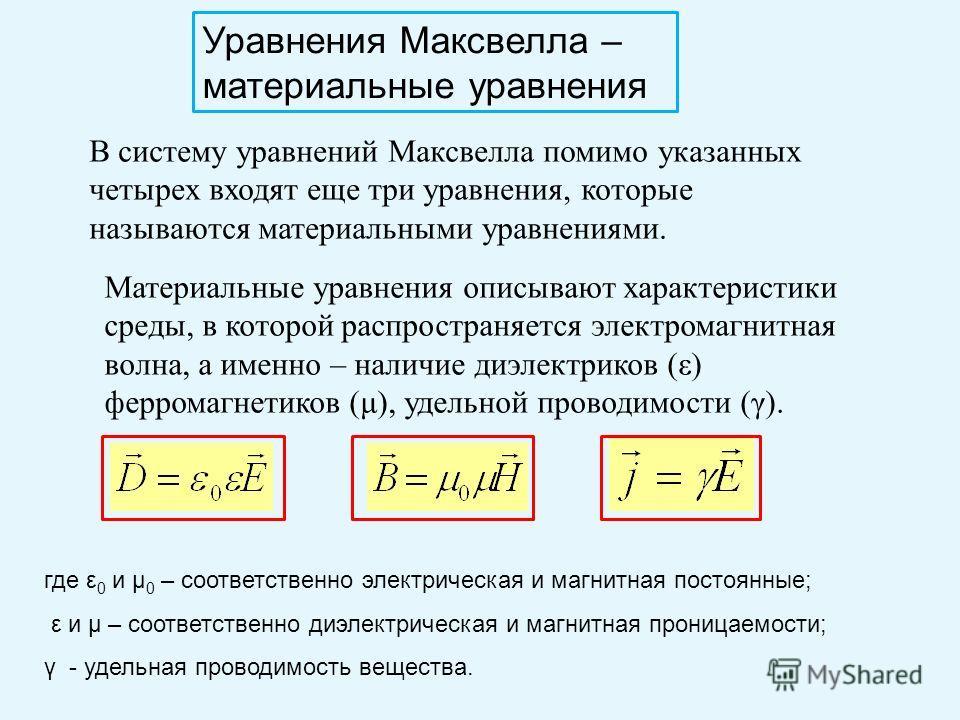Уравнения Максвелла – материальные уравнения В систему уравнений Максвелла помимо указанных четырех входят еще три уравнения, которые называются материальными уравнениями. Материальные уравнения описывают характеристики среды, в которой распространяе