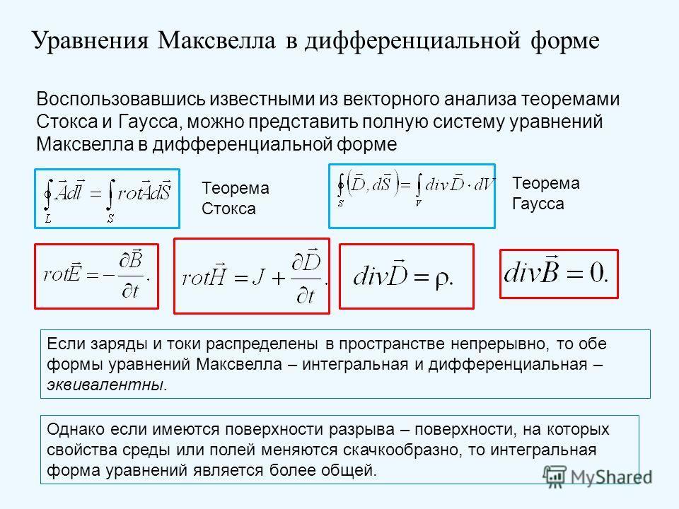 Уравнения Максвелла в дифференциальной форме Воспользовавшись известными из векторного анализа теоремами Стокса и Гаусса, можно представить полную систему уравнений Максвелла в дифференциальной форме Теорема Стокса Теорема Гаусса Если заряды и токи р