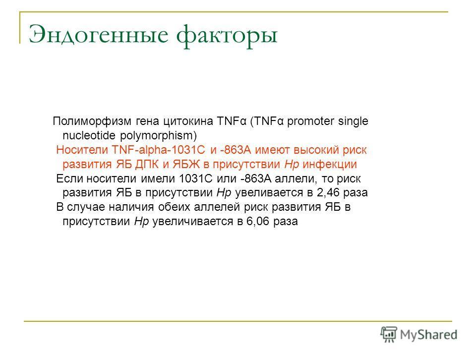 Эндогенные факторы Полиморфизм гена цитокина TNFα (TNFα promoter single nucleotide polymorphism) Носители TNF-alpha-1031C и -863A имеют высокий риск развития ЯБ ДПК и ЯБЖ в присутствии Нр инфекции Если носители имели 1031C или -863A аллели, то риск р